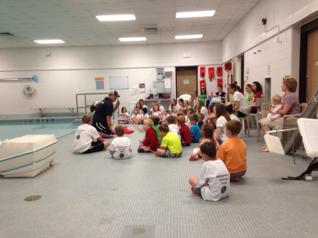 Dive Team Leader Steve Wimmer teaching water safety at a Safety Town session in Sheboygan