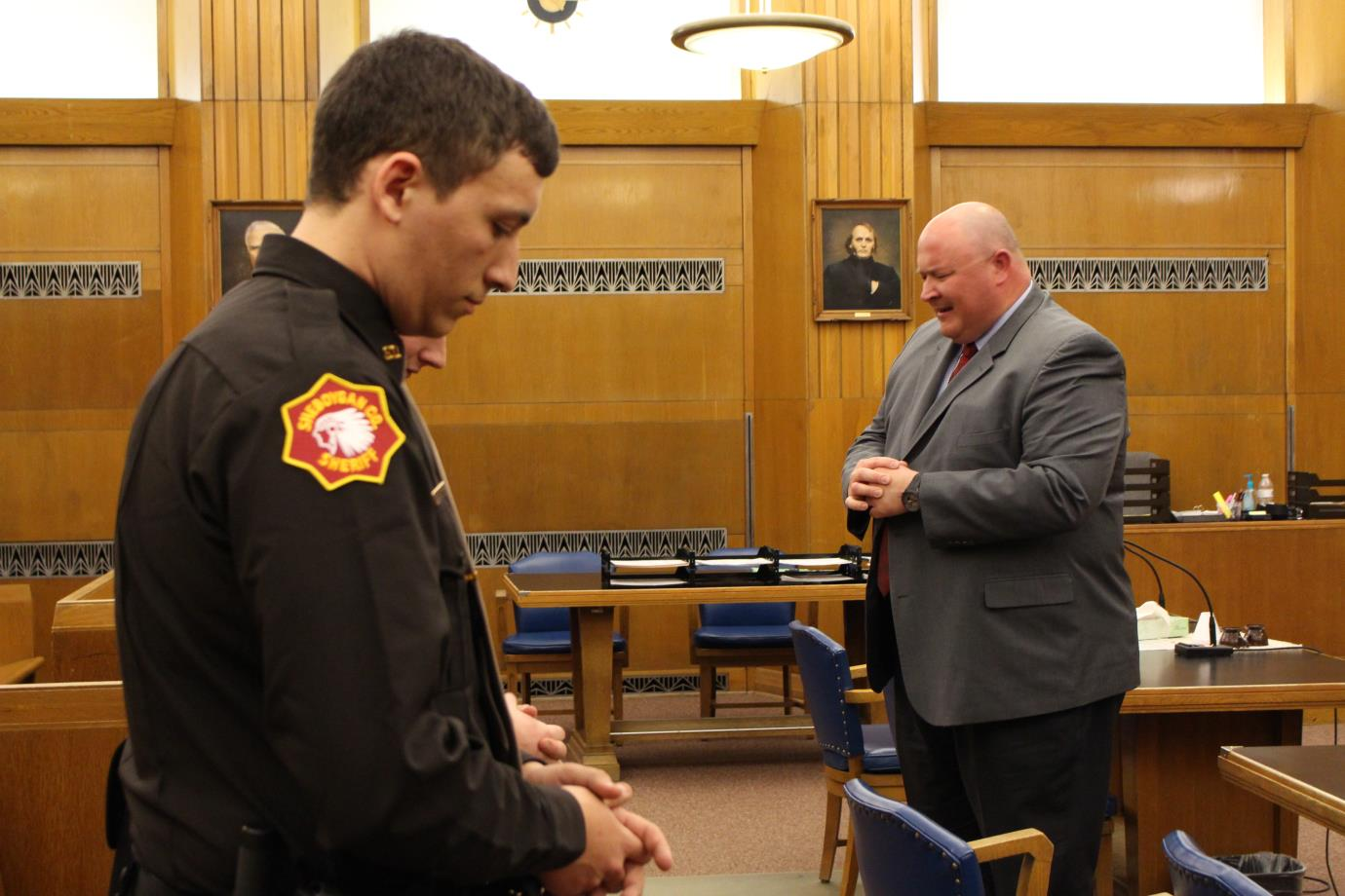 Officers take part in courtroom ceremony