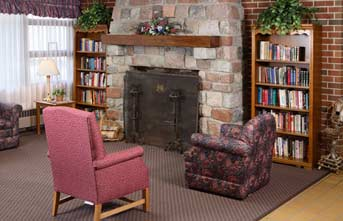 Rocky Knoll's fireplace continues to be a popular area for our long term care guests to read while enjoying the warmth of the fireplace.