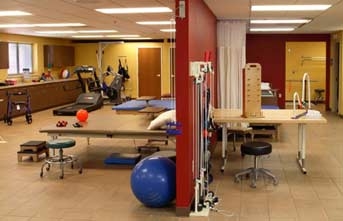 Rocky Knoll's rehab gym features state-of-the-art equipment.