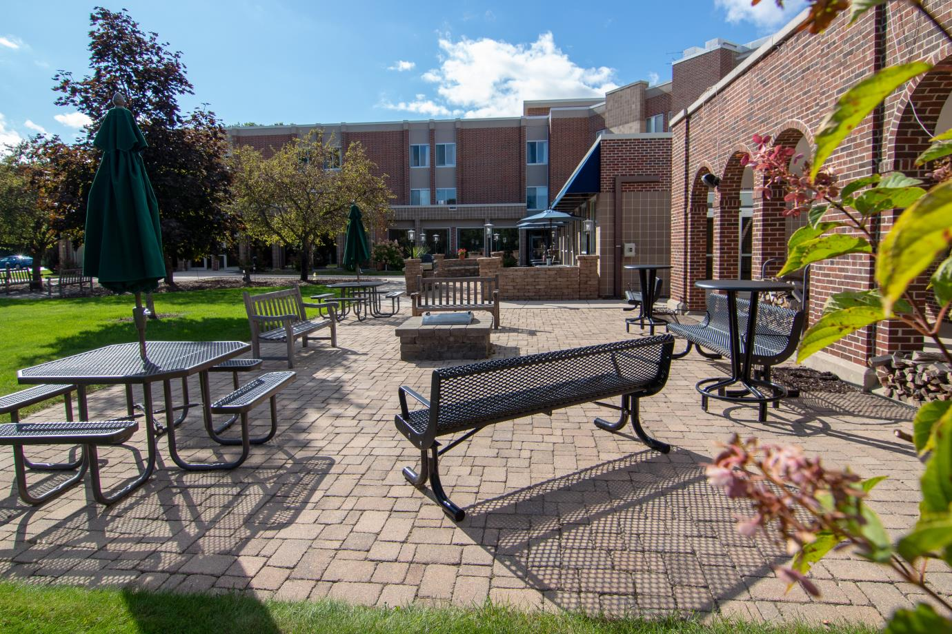 Fire pit area is used during the fall evenings for resident events